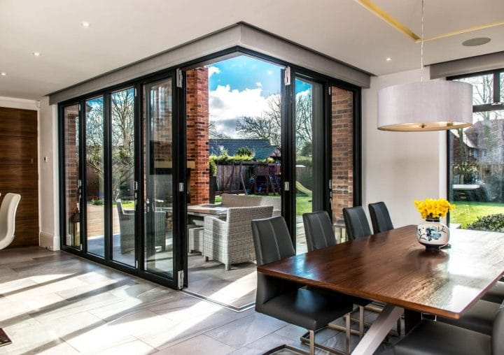 Bi-folding doors in house kitchen