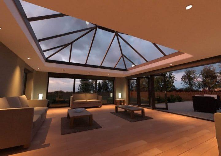Large sunroom with bi-folding doors