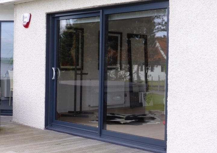 Grey sliding doors