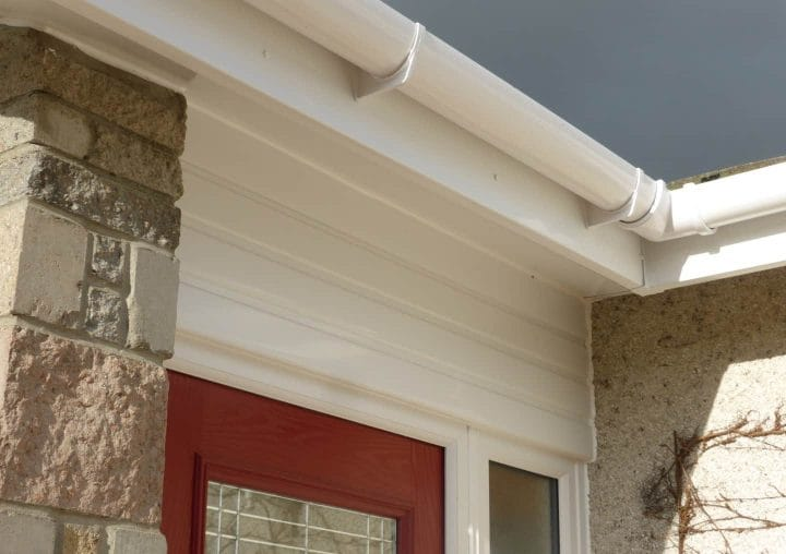 White fascia and soffit up close