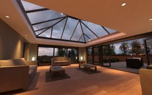 Open Sun Room with French Patio Doors and Sun Roof - SRJ Windows