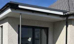Fascia boarding and guttering up close