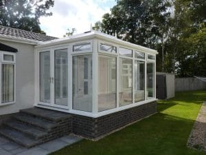 White conservatory with steps