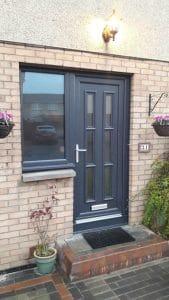 Grey Composite Door with Window - SRJ Windows