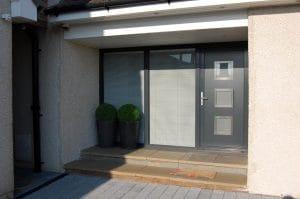 Modern grey door with large glass windows - SRJ Windows
