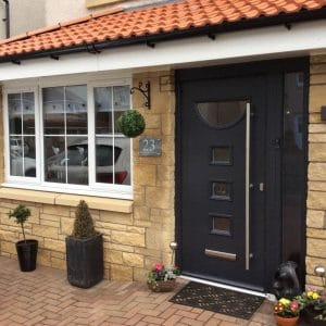 Modern door with large handle - SRJ Windows