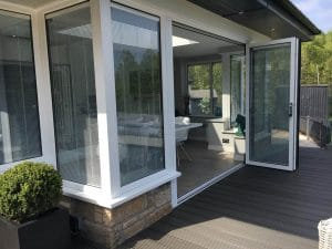 Modern sunroom with bi-folding doors