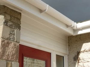 White guttering and fascia up close
