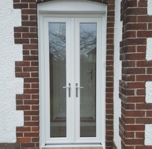 White French door with glass - SRJ Windows