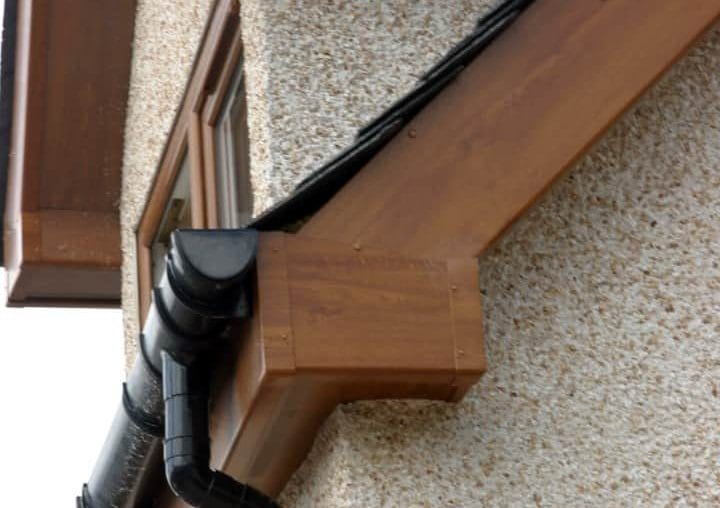 Brown Fascia Boards and Guttering by SRJ Windows