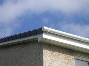 White fascia and guttering up close