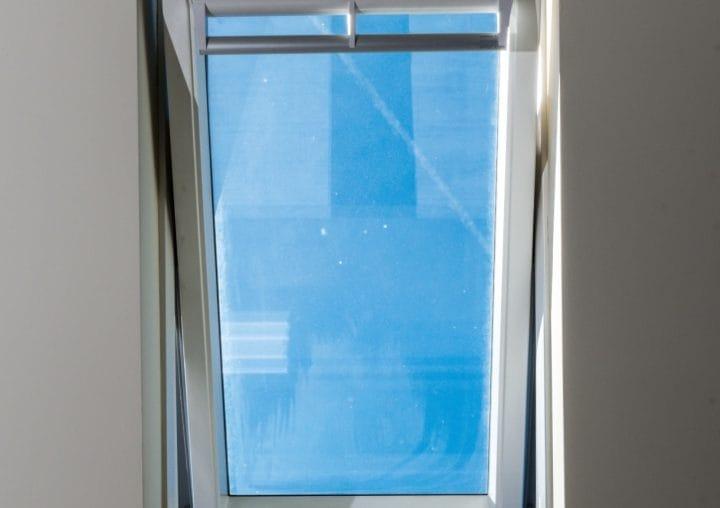 Open white roofline window