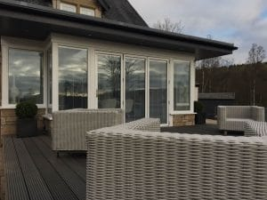 Modern sunroom with decking