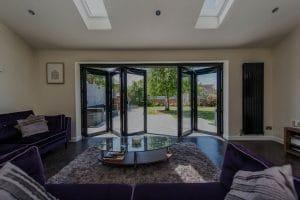 Modern bi-folding doors in living room