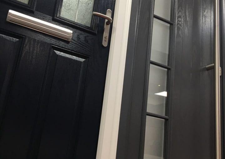 Dark composite PVCu doors